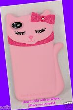 Bath & Body Works PINK CAT w/ DIAMOND BOW iPhone 4/4s Easy-Grip Case
