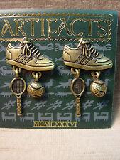 """'Tennis Shoes w/Charms' Earrings """"Jj"""" Jonette Jewelry Bronze Pewter"""