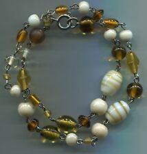 Muranoglas Perlenkette Kette Collier marmoriert+bernsteinfarbig 46 cm toll