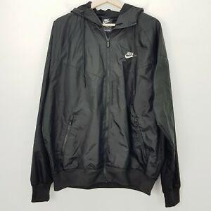 NIKE Mens Size M Black Sportswear Hooded Windbreaker / Windrunner Jacket