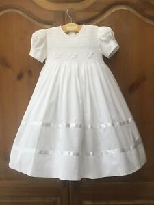 Strasburg Heirloom Boutique Vintage Smocked Seed Pearl White Dress Bow Lined 18M