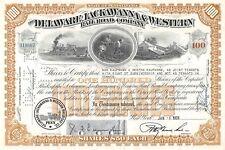 Delaware Lackawana & Western Certificate 100 Shares 1958