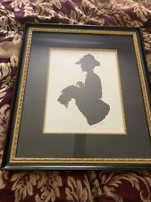Hand Cut Paper Silhouette signed S Mark Lady & Irish Wolfhound Nicely Framed