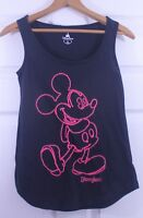 Women's Disney Parks Pink Yarn Mickey Mouse Cotton Black Tank Top Shirt Sz XS