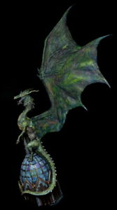 Huge PAINTED 45cm Green Dragon for Wargames with 32cm wings etc.