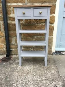 H100 x W85 x D30cm BESPOKE CONSOLE HALL KITCHEN TABLE 2 DRAWERS 3 SHELVES GREY