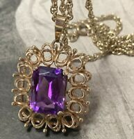 9ct Gold Amethyst Pendant Necklace with 9ct Gold 45cm Rope Chain Vintage