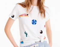 ISABEL BACON FOR J. CREW TEE T-SHIRT COLLAGE BEACH NWT XXS S M L