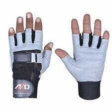 Heavy Duty Weight Lifting Gloves Gym Training Leather PADDED Palm Grey S-2XL