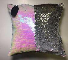 Pearl / Silver  Sequin Pillow Mermaid Magic Glitter Reversible 16'' #18