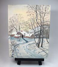 "Vtg Winter Snow Log Cabin Barn Landscape Oil Painting Signed M Rogers 12"" x 16"""