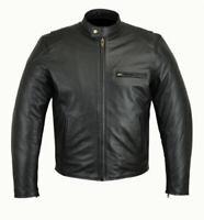 Men Racing motorcycle Motorbike Black cowhide  leather Fashion Jacket