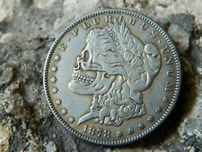 1878/79 Morgan Dollar Two Face Skull Skeleton Novelty Coin