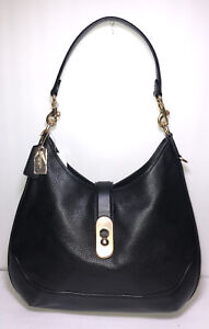 Coach F48635 Black Pebble Leather Amber Shoulder Hobo Bag Handbag New NWT $375