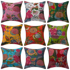 Handmade Kantha Cushion Cover Set Of 9 Pcs Indian Home Decor Pillowcase 16x16""
