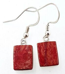 925 sterling silver Red Agate Drop/Dangle EARRINGS_shepherds hooks
