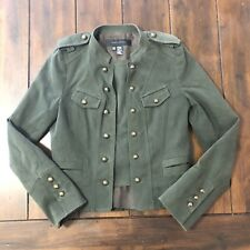 Zara Woman Military Style Olive Green Crop Coat Jacket Gold Buttons Medium