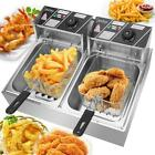 5000W 12L Electric Deep Fryer Dual Tank Commercial Restaurant Stainless Steel US photo
