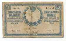 Finland Under Russia 5 Gold Markkaa 1909 Litt. A F
