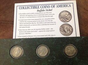 American coins 3 buffalo nickels