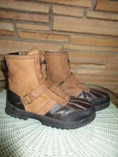 Ralph Lauren Polo Men's Sz 7 EUR 40 Duck Boots Strap Zippers Leather Brown Black
