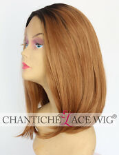Short Lace Front Wig UK Synthetic Hair Ombre Dark Roots&Blonde Straight Heat OK