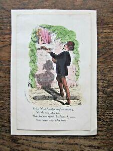 Victorian Valentine Card R Conton Poem Handcoloured Print Engraving Guitar Music