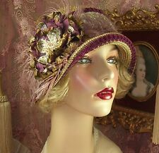 1920S VINTAGE STYLE BROWN & WINE BEADED EMBROIDERED FEATHER CLOCHE FLAPPER HAT