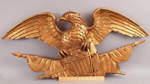 Large 40in Folk Art Hand Carved Gold Gilt Wood, American Eagle Flags & Shield