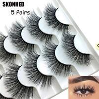 NEW SKONHED 5 Pairs Faux Mink Hair False Eyelashes Natural Long Wispies Lashes-