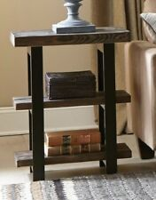 ALATERRE FURNITURE POMONA RUSTIC NATURAL SOLID WOOD TOP 2 SHELF END TABLE
