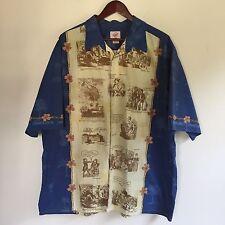Trader Joes Mens Shirt XXL Camp 100% Cotton Blue Beige Illustrations T217
