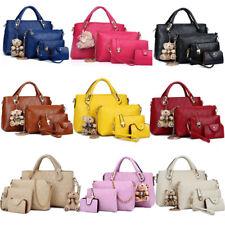 4pcs Set Women Lady Leather Shoulder Bag Handbag Satchel Clutch Coin Purse Lot
