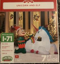 Unicorn and Elf Christmas Holiday Time Inflatable 7 ft New NIB Yard Decoration