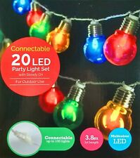 20 Piece Coloured LED Festoon / Party String Light Kit - Connectable Low Voltage