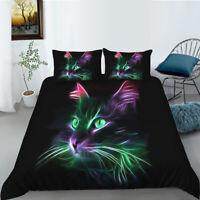 Hot Unique Green Cat Design Bedding Set of Duvet Cover & Pillowcase