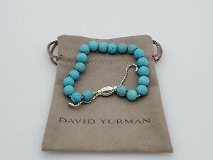 David Yurman Sterling Silver Spiritual Bead Bracelet with Turquoise, 8mm