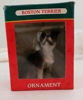 Kurt Adler Boston Terrier Christmas Ornament NIB Cute Dog Ornament W Santa Hat