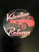 Valentino Returns Metal Button Pinback Colorful Old Vintage Car Black Pink White