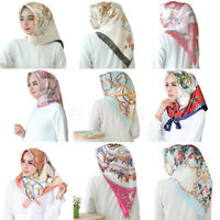 "Women Fashion Square Hijab Scarf Silk Satin Head Neck Shawl Stole Wraps 35""*35"""