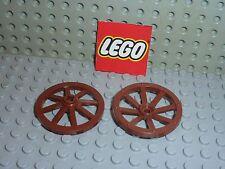 2 x Lego RedBrown wheel 4489b / Set 4766 10193 6239 7038 10176 7195 7571 5929...