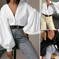 ZANZEA Damen Puffärmel Shirt Elegant Knopf Hemd Oversize Party Freizeit Bluse
