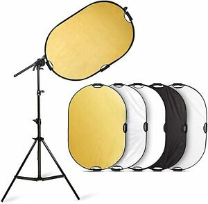 Selens Photography 5in1 Collapsible Light Reflector w/ Holder Arm Boom Stand Kit