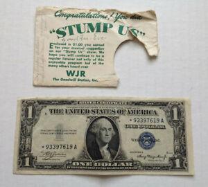 Vtg WJR Stump US Radio Show Envelope & Original $1 USA 1935 A Silver Ct Premiri