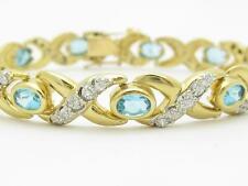 14k Yellow Gold & Diamonds Blue Topaz Hugs & Kiss Design Tennis Bracelet Gift