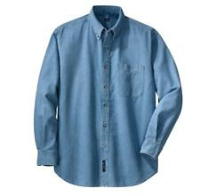 Mens Long Sleeve Button Down Light Blue Denim Shirt Port & Company SP10 XS-6XL