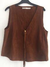 ZARA TRAFALUC Ladies Tan 100% Goat Leather Gilet Size XS