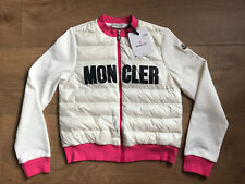 NEW! £296 MONCLER White Pink Logo Padded Zip Up Maglia Cardigan 14Years Teen Top