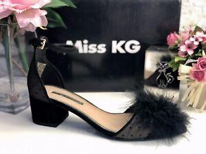 MISS KG BLACK FLUFFY POM-POM TWO PART SANDAL SHOE SIZE UK 4 EU 37 New In Box
