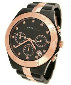 Marc by Marc Jacobs Blade Chrono Two-Tone Black Rose Gold Ladies Watch MBM3180
